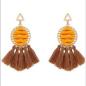 Orange and Brown Fan Tassel Statement Earrings